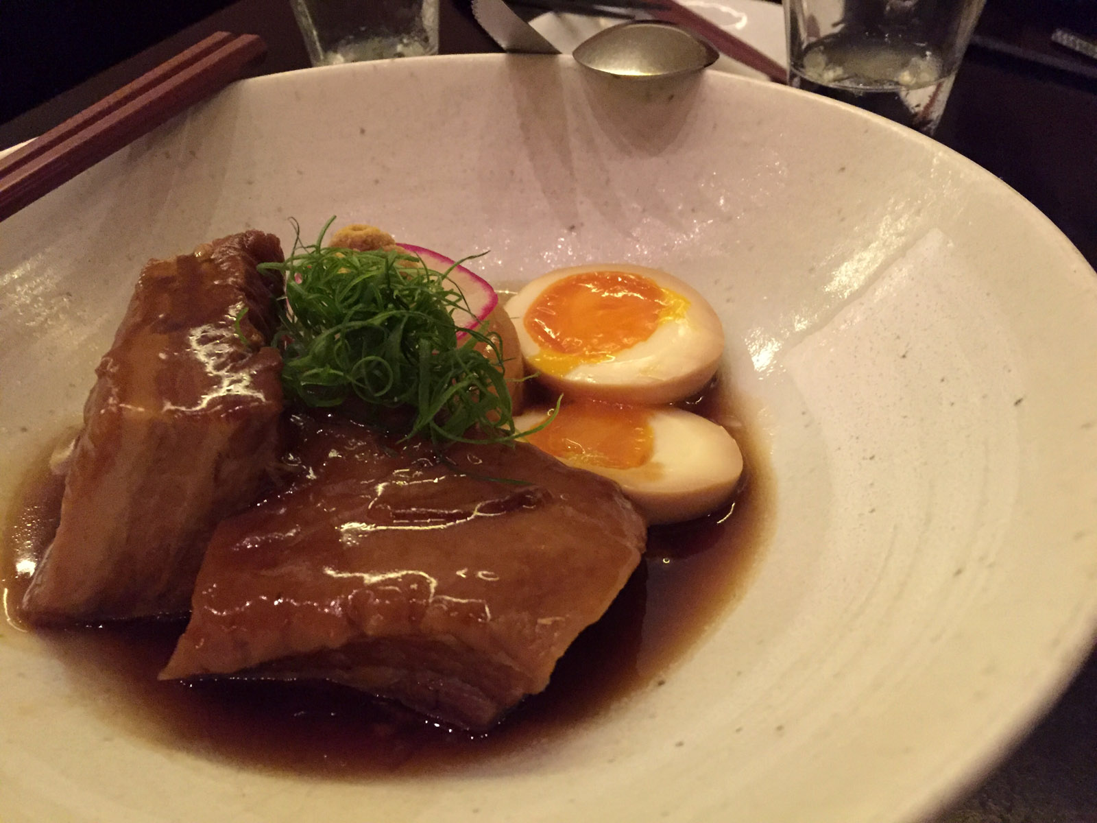 Niman Ranch Pork Belly Kakuni, Half-boiled Free-range Egg & Daikon. If there is an unwritten rule of Dinner Club it has to be that when pork belly is on a menu, we have to order it. Kinjiro's interpretation was tender as hell, not too porky, and with that little bit of runny egg to compliment the meat. I'm pretty sure this was where Mark reiterated his comment about how there's no such thing as double dipping. I'm pretty sure he said that as he was lifting a spoonful of pork belly broth for me to taste after he had tasted it. Did I mention Mark had the flu last week? And I was flu-ish all weekend long following this meal? Is anybody catching what I'm implying here? Okay...just checking.