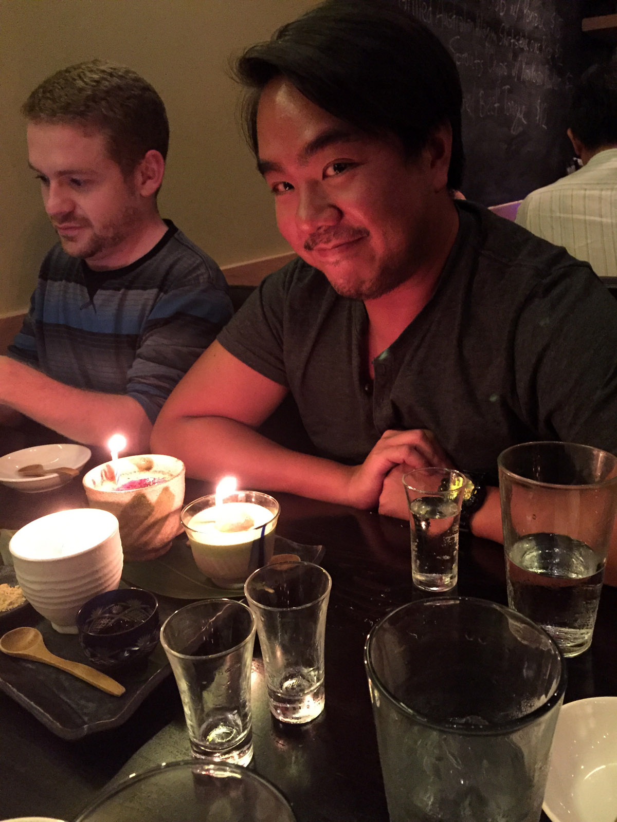 One of the biggest topics of conversation at Dinner Club last week was how David officially became an American citizen the morning before the meeting! To celebrate, Amanda subtly asked our server (who was AMAZING, by the way) to put together a dessert combo that we could share in celebration of David's achievement.  If I recall the combo consisted of a creme brûlée, a black sesame mousse, and a panna cotta. We also ordered two bottles of dessert sake to compliment the sweets. Because Dinner Club scoffs at your one-bottle-of-dessert-sake-is-enough norms.
