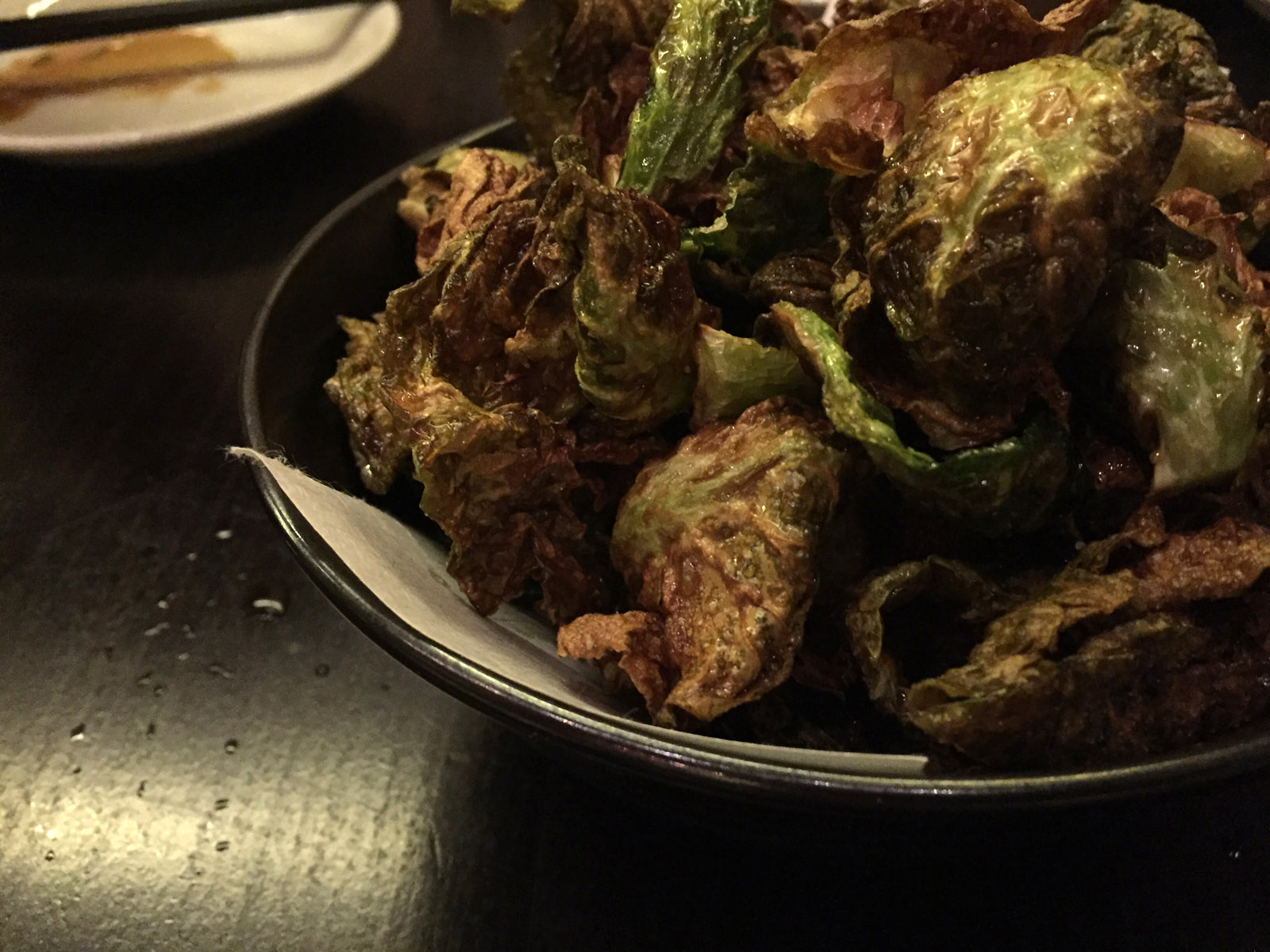 Brussels Sprouts With Yuzu Kosho Powder. On the other hand, these guys were my favorite bites of the meal. Leafed (Leaved?) Brussels Sprouts lightly sautéed (or fried?)  and topped with a sprinkling of delicious yuzu kosho powder. Some at the table described them as easy to consume as popcorn. This was a nightly special, but I think Kinjiro would be wise to add this to the nightly menu.