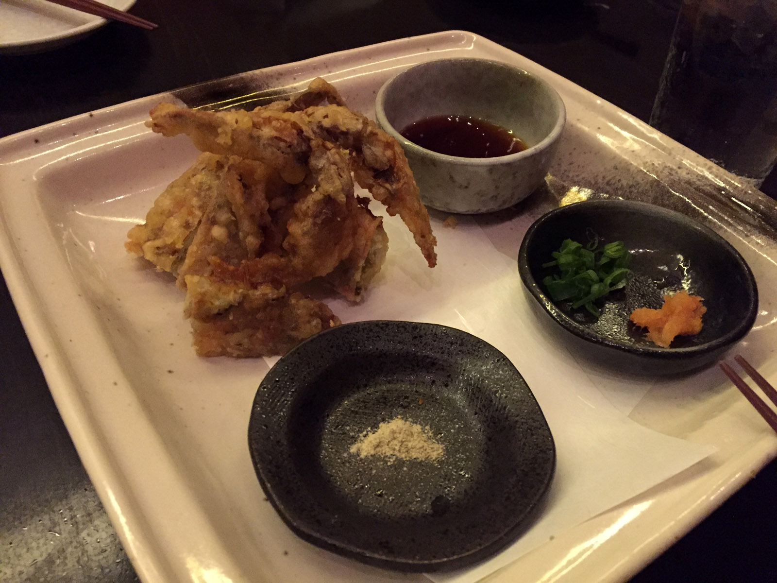 Soft Shell Crab. Another standout dish was the crab, which was lightly battered and fried to perfection with a trio of side dishes we were instructed to dip our pieces into to round out the flavor. I really loved this iteration of crab, and this was one of my favorite bites of the evening.