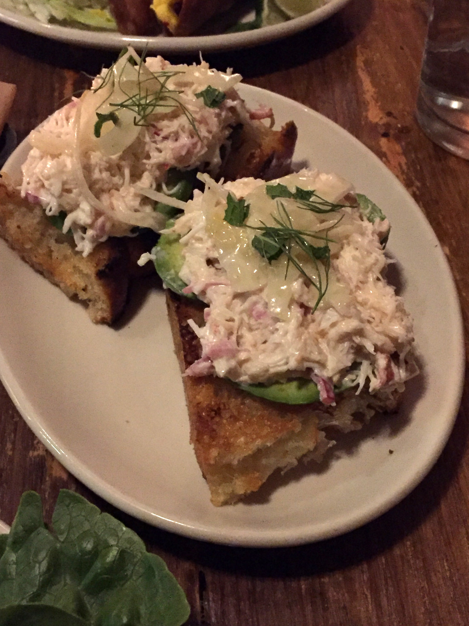 Grilled Crostini Crab Odys + Penelope