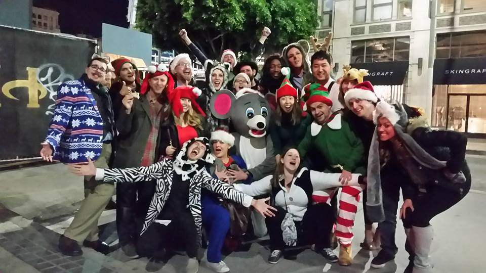 Downtown LA was dead on Christmas Eve, so we stopped in the middle of the street for a family photo.