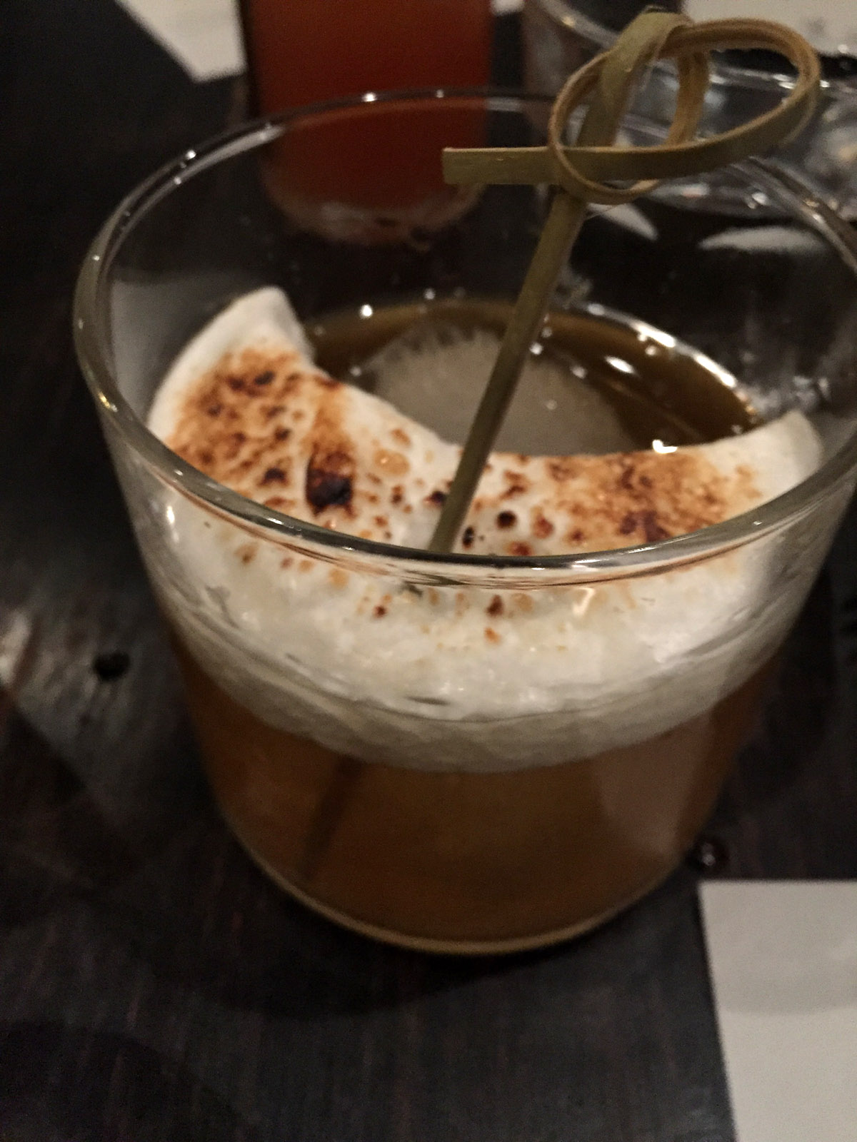 Bettencourt. McKenna Bonded Bourbon, Corbin Cash Sweet Potato Liqueur, Jameson Caskmates Stout, toasted marshmallow.
