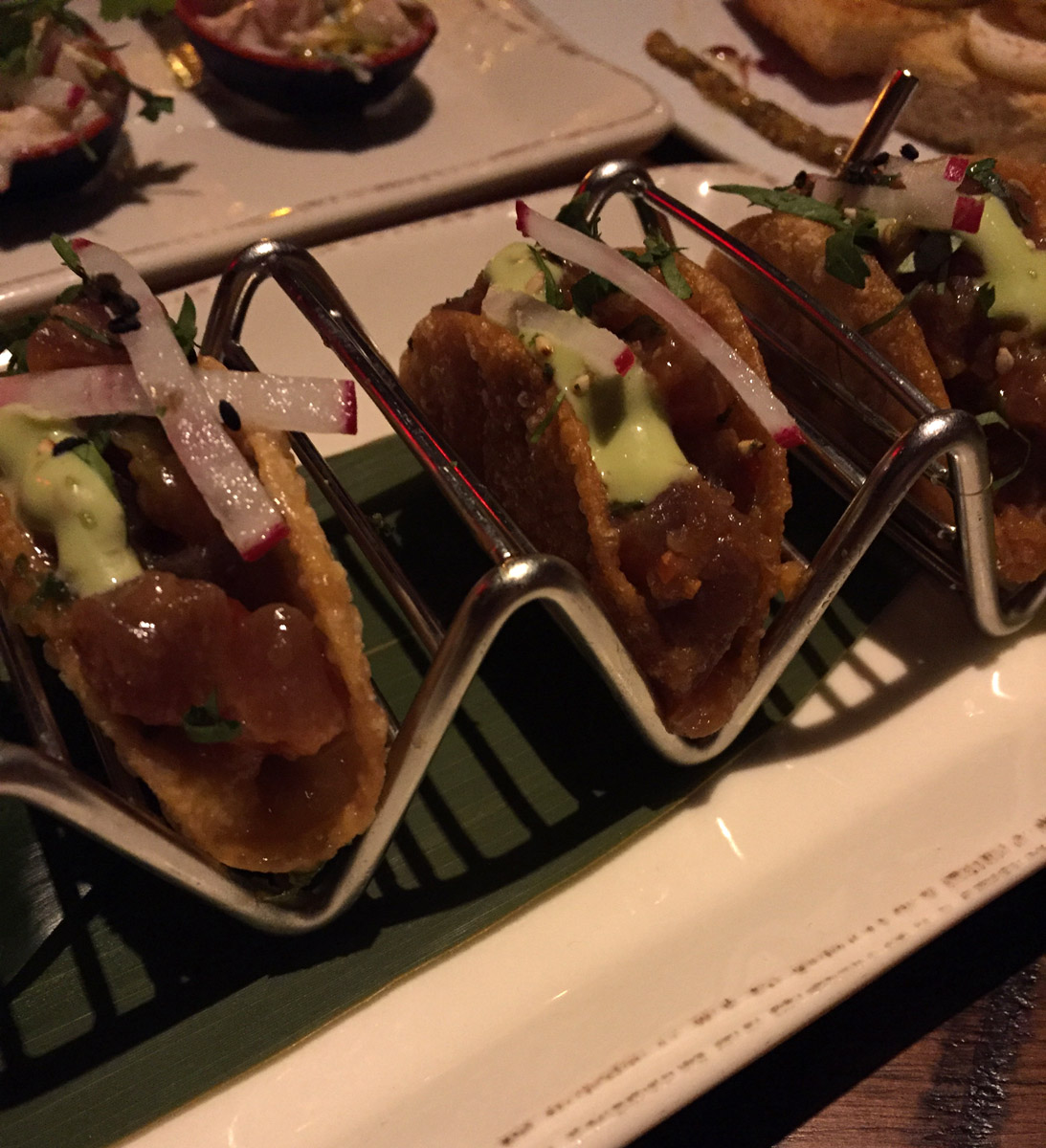 Tuna Poke Wonton Tacos - Beauty & Essex LA