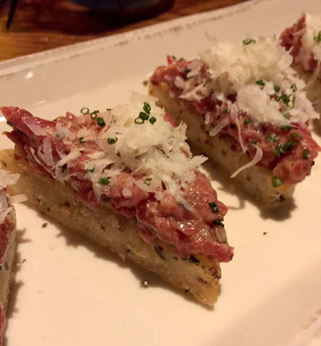 Hand Cut Steak Tartare (crispy mustard & chive sticky rice cake)